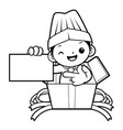black and white funny cook mascot show the vector image vector image