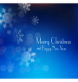 blue Christmas background with snowflakes blurred vector image vector image