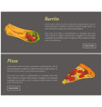 burrito and pizza slice set vector image vector image