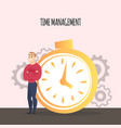 businessman stand near stopwatch time management vector image vector image