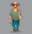 cartoon bald man with a cigarette in his hand vector image vector image