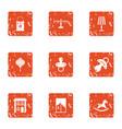 childlike garden icons set grunge style vector image vector image