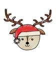 christmas deer face cartoon vector image vector image