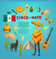 cinco de mayo mexican fiesta party greeting card vector image vector image