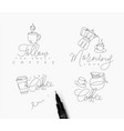 coffee pen line signs vector image vector image