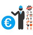 euro developer icon with valentine bonus vector image vector image
