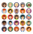flat cartoon round avatars on color vector image vector image