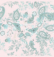 floral seamless pattern with blue ethnic ornament vector image vector image