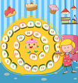 Game template with girl and cake vector image vector image