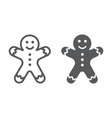 gingerbread man line and glyph icon christmas vector image vector image