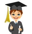 graduation little boy holding his diploma vector image