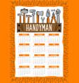 handyman work tools calendar 2018 vector image vector image