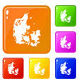 holland icons set color vector image vector image
