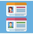 Id cards template with man and woman photo vector image vector image