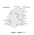 island of paros in greece white map vector image vector image