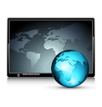 lcd panel with world backgroun vector image vector image