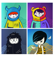 modern funny characters hipsters vector image