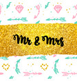 mr and mrs postcard design vector image vector image