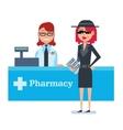 Mystery shopper woman in spy coat checks drugstore vector image vector image