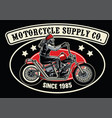 old biker with chopper motorcycle vector image