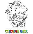 running little baby elephant coloring book scout vector image vector image