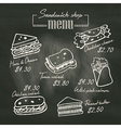 Sandwich doodle menu drawing on chalk board