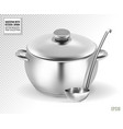 Saucepan and ladle from stainless steel on a