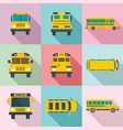 school bus back kids icons set flat style vector image vector image