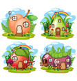 set fruit fairy house vector image