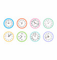 set of colorful round wall clock vector image vector image