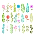 Set of spring leaves and flowers vector image