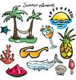 set of summer elements vector image
