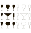Set of vine glass silhouette and outline vector image