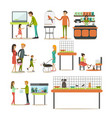 set zoo-shop concept flat style design vector image