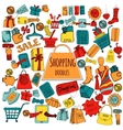 Shopping Doodle Colored Set vector image