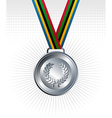Silver medal ribbons background vector image vector image