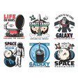 space rocket astronaut and galaxy planet icons vector image