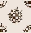 spherical chess seamless pattern engraving vector image vector image