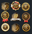 vip golden label collection vector image vector image