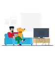 watching tv at home man with dog flat vector image