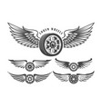 winged wheels emblem set vector image vector image