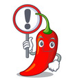 with sign cartoon red hot natural chili pepper vector image vector image
