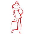 woman with the shopping bag vector image vector image