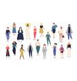 women s world crowd girls dressed in trendy vector image