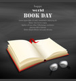 world book day in april on black background vector image vector image