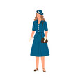young woman wearing dress hat and gloves in 40s vector image vector image