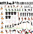 88 Sport Silhouettes and T-shirts Set vector image