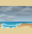 a cloudly beach scene vector image