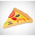 Big piece pizza isolated over white background