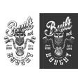 biker emblem with skull vector image vector image
